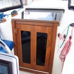 Sailboat companionway doors with complete teak frame.