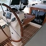 Cruising Concepts' teak products on an Island Packet 445 sailboat.